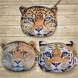 200PC 3 designs Tiger leopard lion purse 3D Printing coin Mini cute Animal's Head Shape Bag Wallet Coin Purses Billfold Burse D640