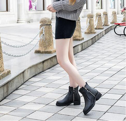 2016 autumn and winter in Europe and America Martin boots tide boots in the rough with short cylinder with double zipper 32-43 yards plus ve