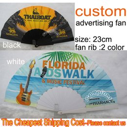 Wholesale Custom Advertising Plastic Folding Hand Fans Color Fan Ribs White and Black For Advertising and Wedding one design