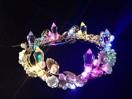 Wholesale New luminous Wedding Crowns Bridal Crystal Veil Tiara Crown Headband Hair Accessories Party Wedding Tiara LED lamp Multi Twinkle