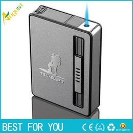 Wholesale 2016 Portable Novelty flame lighter automatic popup Cigarette box case retail Gift Lighter