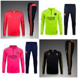 Wholesale 2015 real madrid barcelona PSG Arsenal survetement tracksuit soccer maillot training suits maillot Sweatshirts football shirt Pants