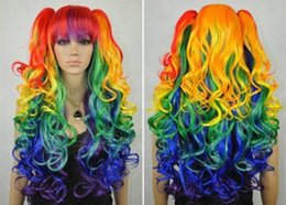 Wholesale 100 Brand New High Quality Fashion Picture wigs gt gt Animated multicolor cosplay wigs separate clip ponytail long wavy style Wigs