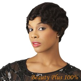 New Arrive Natural Looking Short Curly Hair Wig Heat Resistant Fiber Wig for African American Black Short Wig Free Shipping