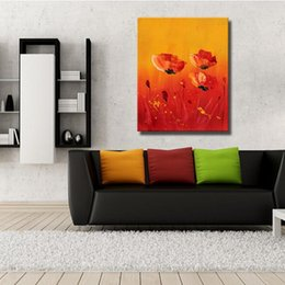 Wholesale Customized size home decor canvas wall hanging art designs picture acrylic texture abstract red flower oil painting