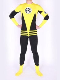 Free shipping Custom Lantern Sinestro Corps Custom Superhero Costume Made Yellow Lantern Adult Halloween Party Cosplay Suit