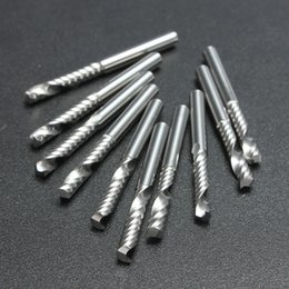 Wholesale 10pcs High Quality Cnc Bits Single Flute Spiral Router Carbide End Mill Cutter Tools x mm Lx3 x5