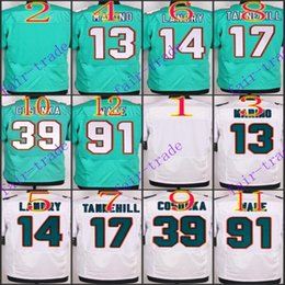 Wholesale NIK Elite Football Stitched Dolphins Blank Dan Marino Jarvis Landry Tannehill Cosonka Wake White Green Jerseys Mix Order