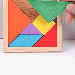 Wholesale 2016 Hot Sale Children Kids Educational Tangram Shape Wooden Puzzle Toy Brand FT Blocks DHL XL T56
