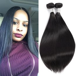 Grace Length Hair 8A Straight Of Human Hair Bundles 100%Unprocessed Brazilian Virgin Weave Mixed Length Hair Extensions Natural Black Color