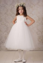 Wholesale Tulle Flower Girls Dresses Jewel Sleeveless Lace Beautiful Girls Suits Tea Length Design Cheap Price