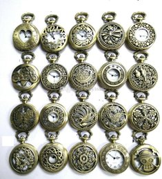 Wholesale Antique Pocket watch with chain Vine Bronze Pocket Watch Necklace Classic Pocket Watches Hollow Watch mix style