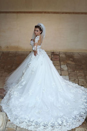 Wedding dress long sleeves sheer top tulle layers detachable train 3d flowers long wedding bridal gown with long sleeves