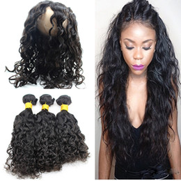 Wholesale 9A Water Wave Pre Plucked Lace Frontal With Bundles Wet and Wavy Brazilian Virgin Human Hair With Full Lace Band Frontal Closure