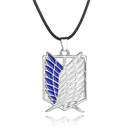 Wholesale 2016 Attack on Titan New Cartoon Anime Attack on Titan investigation Corps flag wing necklace cool metal necklace men jew ZJ