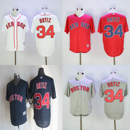 Wholesale Mens Boston Red Sox Jerseys David Ortiz White Grey Red Blue New Fabric Baseball jersey Stitched Name and Logo