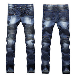Wholesale Men s Distressed Ripped Jeans Famous Fashion Cool Designer Slim Motorcycle Biker Causal Denim Pants Runway Jeans