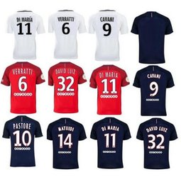Wholesale PSG soccer Jersey DI MARIA home away CAVANI LVERRATTI DAVID UIZ thai quality PSG football shirt soccer jersey