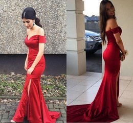 Red Prom Dresses Sweetheart Neck Off The Shoulder Mermaid Side Split Sexy Zipper Party Evening Dress Gowns