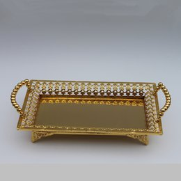 Free shipping luxury gold finish metal tray, hollow metal plate
