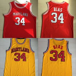 Wholesale Len Bias Maryland Terps University Jersey Red Yellow Men s Stitched Embroidery Logos Basketball Jerseys Mix Order