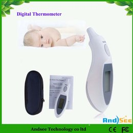 Wholesale Digital Portable Ear IR Body Temperature Infrared Thermometer Baby Child Adult LCD Display white color KA2H03