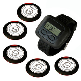 SINGCALLwireless waiter pager system for restaurant,supermarket and so on,5pcs of table button and 1 pc of wrist watch receiver