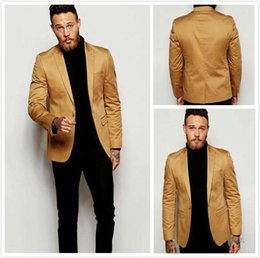 2016 Gold Blazer Slim Fit Tuxedo Suits For Groom Groomsmen Peaked Lapel Wedding Suits Custom Made Prom Mens Suits with Black Pants