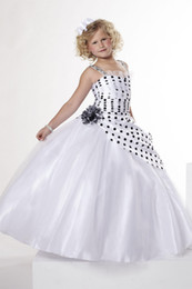 2016 New Girl's Pageant Dresses Asymmetrical Pleating On The Bodice White Lace Tulle Birthday Party Kids Flower Dresses