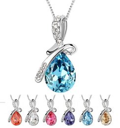 Wholesale Hot Sale Women Water Drop Crystal Zinc Alloy Silver Necklace Fashion Lady Pendant Necklace Jewelry Factory
