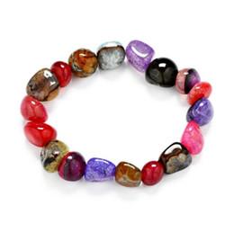 JLN Irregular Shape Agate Random Multi Color Ice Crack Agate Natural Gemstone elastic string Stretched Bracelet Gift For Man Women