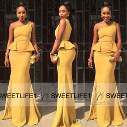 2019 African Traditional New Mermaid Prom Dresses One Shoulder Long Formal Evening Gowns with Sweep Train Cheap Sexy Bridesmaid Dresses