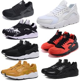 Wholesale Summer Original Air Mesh Huarache Run Sneakers Men women White Black Red Colors Print Casual Running Shoes with Original Box Wholesell