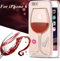 Wholesale Fashion Red Wine Cup Dinamic Liquid transparent Case Cover With Lip High Heel For Apple iPhone s s plus Samsung S6 edge S7 S7 edge