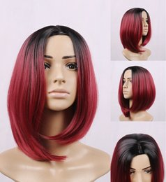 Wholesale New brand ombre burgundybob wigs synthetic sexy female short haircut wig women best natural looking women Synthetic hair cosplay