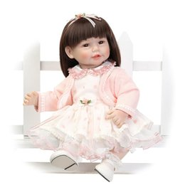 Wholesale Silicone Reborn Dolls with Pink Dress Cute Bebe for Girls Children Soft Toys Bebe Reborn Menina de Silicone Baby Stimulation Toy