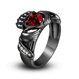 Wholesale NEW Solitaire Ring Women s Black Irish Claddagh Ring with Heart Cut Lab created Ruby in Sterling Silver