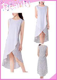 Wholesale Women Girls Fashion Casual Elegant A Line Dresses Chiffon Linen Long Asymmetric Hem Skirts Round Neck Sleeveless ED000003
