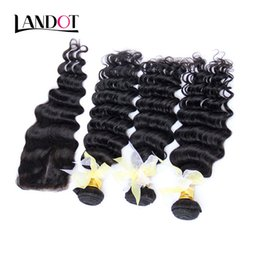 Brazilian Deep Wave Curly Virgin Hair With Closure Unprocessed Brazilian Deep Curly Human Hair Weaves 3 Bundles And Lace Closures 4x4 size