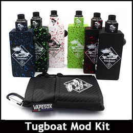 Wholesale Tug boat Box Mod Kit Unregulated Box Mods Starter Kit Matching RDA Atomizers PEEK Aluminum Body With MOSFET fit Batteries