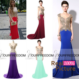 Wholesale YD003 Buyer Show Mermaid Prom Party Dresses Gold Beads Sheer Neck Scoop Burgundy Royal Blue Formal Occasion Evening Gowns Real Image