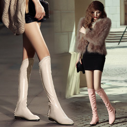 Wholesale Women Boots Autumn Winter Ladies Fashion Flat Bottom Boots Shoes Over The Knee Thigh High Cowskin Long Boots Brand Designer Waterproof