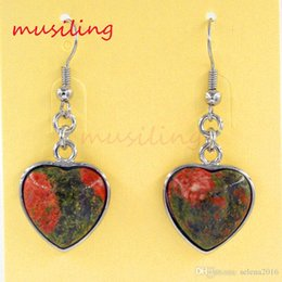 Wholesale musiling Jewelry Heart Dangle Earrings Natural Gem Stone Earrings Accessories Silver Plated European Fashion Jewelry For Women