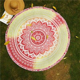 Wholesale Round Yoga Blankets Polyester Lotus Flowers Mat Breathable Mandala Wall Hanging Decor Art Picnic Blanket Retro Beach Towel