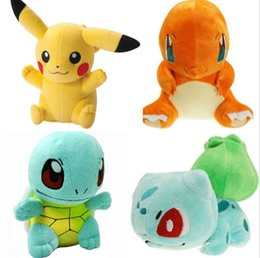 Wholesale Poke plush Pikachu Squirtle Charmander Bulbasaur Plush dolls poke Stuffed animals toys poket Action Toy cm KKA726