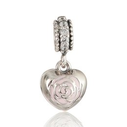 Rose charms S925 sterling silver fits for european pandora style charms bracelets free shipping LW608H9