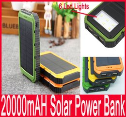 Wholesale 20000mAh solar Power Bank Ultra thin Highlight LED Solar Power Banks A Output Portable Charger Solar Powerbank With Retail Package New