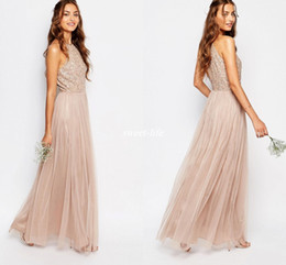 New Champagne Tulle Long Bridesmaid Dresses Sparkly Sequin Halter Neck 2016 Bohemia Wedding Maid of Honor Dress Prom Party Gowns Custom Made