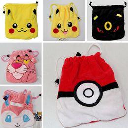 Wholesale Hot Pikachu Poke ball Plush Drawstring Bags Cartoon Pocket Monster Drawstring Bag Poke Plush Pouch Coin Bag x21cm Best Gifts PPA186