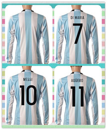 Wholesale New Product Argentina HIGUAIN DI MARIA MESSI Blue white stripe Jerseys Soccer Jersey Long Sleeve Copa America Jersey